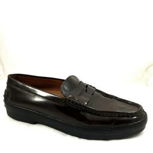 TODS Winter Gommini Burgundy Patent Leather Loafer